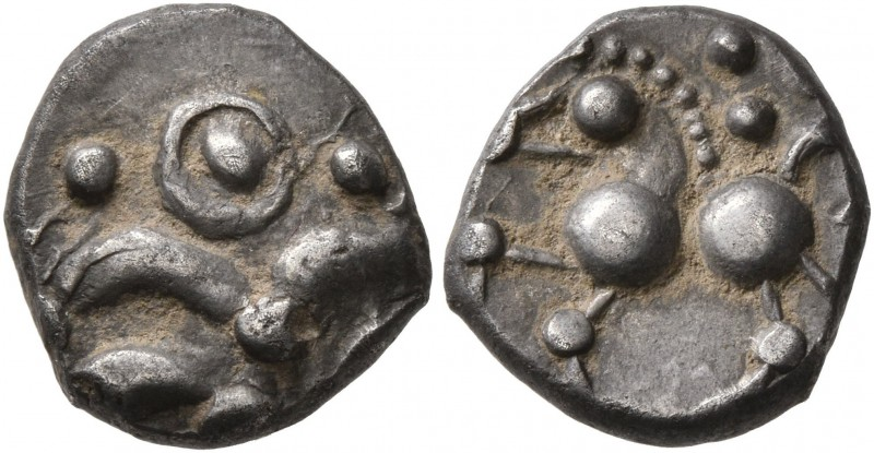 CELTIC, Central Europe. Helvetii. Mid 1st century BC. Quinarius (Silver, 12 mm, ...
