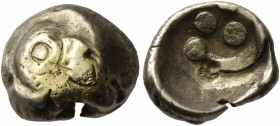 CELTIC, Central Europe. Vindelici. 1st century BC. 1/4 Stater (Gold, 12 mm, 1.84 g, 11 h), 'Regenbogenschüsselchen', 'Vogelkopf' type. Head of a bird ...