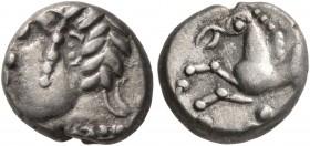 CELTIC, Central Europe. Uncertain tribe. Mid to late 1st century BC. Quinarius (Silver, 10 mm, 1.56 g, 6 h), Altenburg-Rheinau type. Male head to left...
