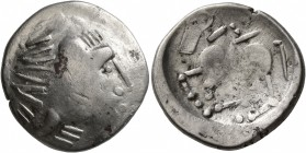 CELTIC, Carpathian region. Uncertain tribe. Circa 2nd century BC. Tetradrachm (Silver, 23 mm, 7.07 g, 3 h), 'Sattelkopfpferd' type, imitating Philip I...