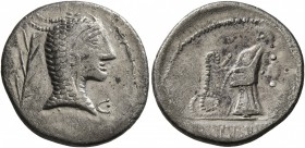 CELTIC, Middle Danube. Eravisci. Mid to late 1st century BC. Denarius (Silver, 18 mm, 2.86 g, 11 h), imitating an issue of L. Roscius Fabatus of 59 BC...