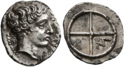 GAUL. Massalia. Circa 410-380 BC. Obol (Silver, 11 mm, 0.71 g). MAΣΣAΛIΩT-AN Bare head of Apollo to right. Rev. Wheel of four spokes; M in one quarter...