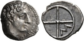 GAUL. Massalia. Circa 410-380 BC. Obol (Silver, 11 mm, 0.71 g). MAΣΣAΛIΩ-[TAN] Bare head of Apollo to right. Rev. Wheel of four spokes; M in one quart...