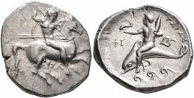 CALABRIA. Tarentum. Circa 335-333 BC. Didrachm or Nomos (Silver, 22 mm, 7.74 g, 4 h), Sa... and Phi..., magistrates. Nude rider on horse galloping to ...