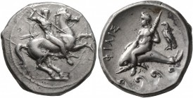 CALABRIA. Tarentum. Circa 332-302 BC. Didrachm or Nomos (Silver, 21 mm, 7.88 g, 12 h), Sim... and Philis..., magistrates. ΣIM Nude rider on horse gall...