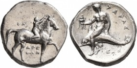 CALABRIA. Tarentum. Circa 302-280 BC. Didrachm or Nomos (Silver, 21 mm, 7.66 g, 12 h), Sa..., Arethon and Cas..., magistrates. ΣA - APE/ΘΩN Nude youth...