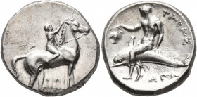 CALABRIA. Tarentum. Circa 302-280 BC. Didrachm or Nomos (Silver, 21 mm, 7.87 g, 1 h), Sa..., Philiarchos and Aga..., magistrates. ΣA - ΦΙΛΙ/APXOΣ Nude...