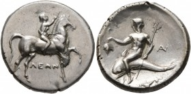 CALABRIA. Tarentum. Circa 272-240 BC. Didrachm or Nomos (Subaeratus, 21 mm, 6.41 g, 6 h), Leon... and An..., magistrates. ΛEΩN Nude youth riding horse...