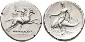 CALABRIA. Tarentum. Circa 240-228 BC. Didrachm or Nomos (Subaeratus, 23 mm, 6.25 g, 1 h), Daimachos, magistrate. ΔAIMAXOC Nude youth on galloping hors...