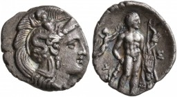 LUCANIA. Herakleia. Circa 340-330 BC. Diobol (Silver, 12 mm, 0.96 g, 9 h). Head of Athena to right, wearing Attic helmet decorated with Skylla. Rev. H...