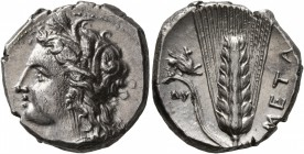 LUCANIA. Metapontion. Circa 330-290 BC. Didrachm or Nomos (Silver, 20 mm, 7.84 g, 12 h), Ly..., magistrate. Head of Demeter to left, wearing wreath of...