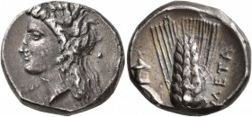 LUCANIA. Metapontion. Circa 330-290 BC. Didrachm or Nomos (Silver, 20 mm, 7.81 g, 5 h), Dex... and Ly..., magistrates. Head of Demeter to left, wearin...