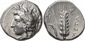 LUCANIA. Metapontion. Circa 330-290 BC. Didrachm or Nomos (Silver, 20 mm, 7.94 g, 12 h), Atha..., magistrate. Head of Demeter to left, wearing wreath ...