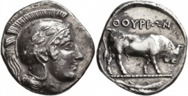 LUCANIA. Thourioi. Circa 443-400 BC. Stater (Silver, 22 mm, 7.82 g, 1 h). Head of Athena to right, wearing Attic helmet decorated with an olive branch...