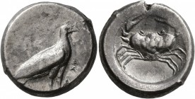 SICILY. Akragas. Circa 495-480/78 BC. Didrachm (Silver, 19 mm, 8.81 g, 12 h). AKRAC Eagle with closed wings standing to right. Rev. Crab within circul...