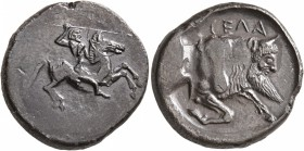 SICILY. Gela. Circa 490/85-480/75 BC. Didrachm (Silver, 22 mm, 7.82 g, 9 h). Bearded horseman, nude, riding right, brandishing spear in his upraised r...