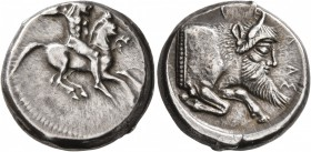 SICILY. Gela. Circa 480/75-475/70 BC. Didrachm (Silver, 19 mm, 8.74 g, 1 h). Bearded horseman, nude, riding right, brandishing spear in his upraised r...