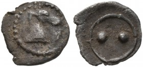 SICILY. Gela. Circa 480/75-475/70 BC. Hexas - Dionkion (Silver, 6 mm, 0.04 g). Head of a horse to right. Rev. Two pellets. Jenkins 201. Very rare and ...