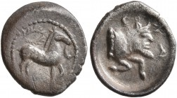 SICILY. Gela. Circa 465-450 BC. Litra (Silver, 12 mm, 0.77 g, 7 h). Horse standing right; above, wreath; to right, crescent. Rev. CEΛA Forepart of a m...