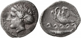 SICILY. Kamarina. Circa 410-405 BC. Litra (Silver, 11 mm, 0.72 g, 2 h). ΚΑΜΑΡΙΝΑ Head of the nymph Kamarina to left, wearing sphendone decorated with ...