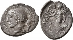SICILY. Kamarina. Circa 410-405 BC. Litra (Silver, 13 mm, 0.99 g, 10 h). ΚΑΜΑΡΙΝΑΙΟΝ Head of Athena to left, wearing crested Attic helmet. Rev. Nike a...