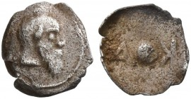 SICILY. Katane. Circa 461-450 BC. Onkia (Silver, 5 mm, 0.05 g). Balding head of Silenos to right, with an animal ear and a long beard. Rev. K-A (retro...