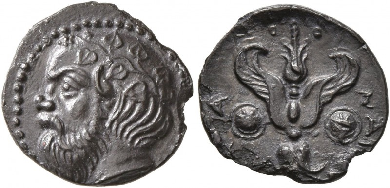 SICILY. Katane. Circa 415/3-404 BC. Litra (Silver, 11 mm, 0.66 g, 4 h). Head of ...