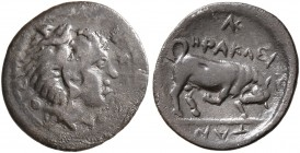 SICILY. Kephaloidion-Herakleia. Circa 405-396 BC. Litra (Silver, 12 mm, 0.56 g, 10 h). [EK KEΦAΛ]OIΔI[TAN] Head of Herakles to right, wearing lion ski...