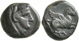 SICILY. Kephaloidion. Circa 344-336 BC. Onkia (?) (Bronze, 13 mm, 2.32 g, 3 h). Head of Herakles to right, wearing lion skin headdress. Rev. Pegasus f...