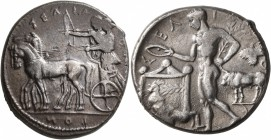 SICILY. Selinos. Circa 455-409 BC. Tetradrachm (Silver, 27 mm, 17.05 g, 9 h). ΣΕΛΙΝ-ΟΝ[Τ]-ΙΟN Apollo and Artemis standing left in a quadriga moving sl...