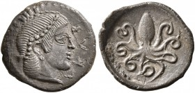SICILY. Syracuse. Second Democracy , 466-405 BC. Litra (Silver, 11 mm, 0.73 g, 6 h), circa 466-460 BC. ΣYPA Head of Arethusa to right, wearing necklac...