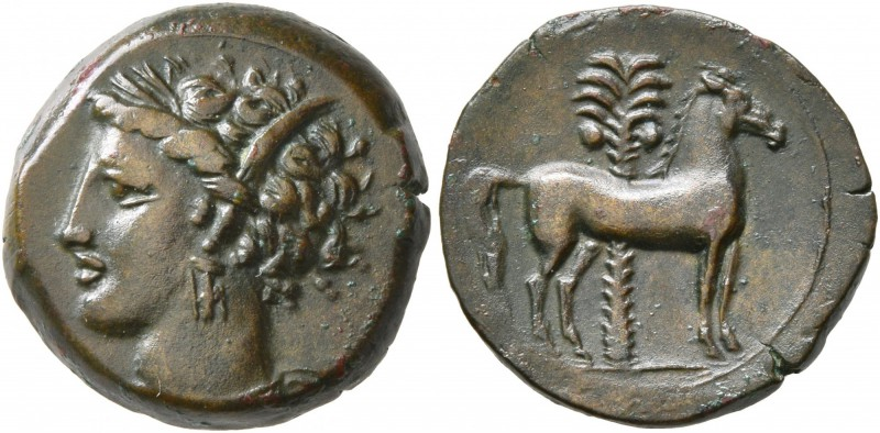CARTHAGE. Circa 400-350 BC. AE (Bronze, 15 mm, 3.34 g, 5 h). Head of Tanit to le...