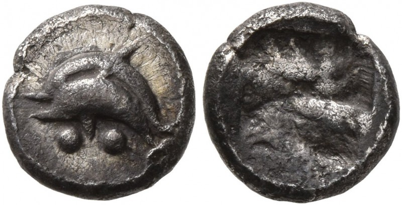 ISLANDS OFF THRACE, Thasos. Circa 463-449 BC. Obol (Silver, 8 mm, 0.55 g). Two d...
