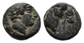 Aeolis, Aigai. 4th-3rd centuries BC. Æ (7mm, 0.88g). Laureate head of Apollo right. / Head of goat right. SNG Ashmolean 1246-9.