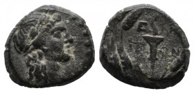 Aeolis, Elaia. ca.2nd-1st centuries BC. Æ (13mm, 2.02g). Head of Demeter right, wearing grain wreath. / E-ΛA IT-ΩN in two lines, torch within wreath. ...