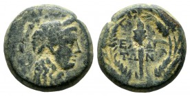Aeolis, Elaia. ca.2nd-1st centuries BC. Æ (14mm, 3.11g). Head of Demeter right, wearing grain wreath. / E-ΛA IT-ΩN in two lines, torch within wreath. ...