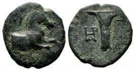 Aeolis, Kyme. ca.300-250 BC. Æ (15mm, 3.08g). Stasippos, magistrate. KY. Forepart of a horse right. / Skyphos; monogram in left field. SNG München 470...