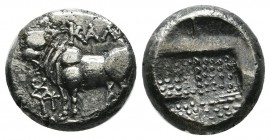 Bithynia, Kalchedon. ca.367-340 BC. AR Drachm (14mm, 3.87g). Bull standing left on grain ear; caduceus and monogram before / Stippled quadripartite in...