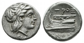 Bithynia, Kios. ca.345-315 BC. Hemidrachm AR (13mm, 2.42g). Laureate head of Apollo right. / Prow of galley left, ornamented with star, ΠPOΞENOΣ aroun...