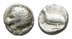 Caria, Mylasa. ca.420-390 BC. AR Tetartemorion (4mm, 0.16g). Head of lion left. / Bird (Quail?) standing left within incuse square. SNG Kayhan 940-43 ...