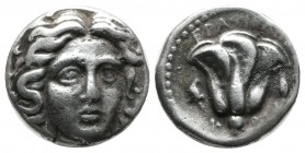 Caria, Rhodes. ca.275-250 BC. AR Drachm (15mm, 3.36g). Erasikles, magistrate. Head of Helios facing slightly right. / Rose with bud to right; EPAΣIKΛH...