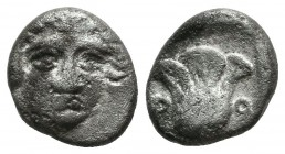Caria, Rhodes. ca.408/7-390 BC. AR Hemidrachm (11mm, 1.67g). Head of Helios facing slightly right. / P - O. Rose within incuse square. Ashton 19; HGC ...