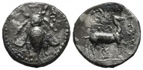 Ionia, Ephesos. 202-133 BC. Artemon, magistrate. AR Drachm (18mm, 3.66g). E-Φ to left and right of bee. / AΡTEMΩN. Stag standing right, palm tree in b...