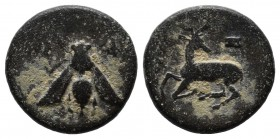 Ionia, Ephesos. 394-295 BC. Æ (14mm, 2.22g). E-Φ AΡIΣTONOMOΣ. Bee with straight wings. / Stag recumbent left, head right; astragalos above. Unpublishe...