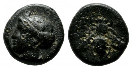 Ionia, Ephesos. ca.288-281 BC. Æ (10mm, 1.54g). Veiled head of Arsinoe left. / E-Φ. Bee with straight wings. SNG Cop 256; SNG von Aulock 1839.