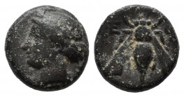 Ionia, Ephesos. ca.375-325 BC. Æ (10mm, 1.28g). Female head (Artemis?) left, wearing stephane / E - Φ. Bee. SNG von Aulock 1839; SNG Copenhagen 256; B...