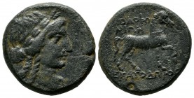 Ionia, Kolophon. ca.285-190 BC. Æ (23mm, 11.38g). Ekatodoros, magistrate. Laureate head of Apollo right. / KOΛOΦΩ-NIΩN - EKATOΔΩPOΣ. Horse standing ri...