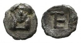 Ionia, Kolophon. ca.450-410 BC. AR Tetartemorion (6mm, 0.23g). Facing laureate head of Apollo. / TE monogram within incuse square. Milne, Colophon 7; ...