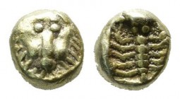 Ionia, Miletos. ca.600-550 BC. EL 1/48th Stater (5mm, 0.32g). Facing lion's head. / Scorpion within incuse square. Weidauer 166-168; Boston MFA -; BMC...