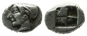 Ionia, Phokaia. ca.521-478 BC. AR Trihemiobol (10mm, 1.24g). Female head left, wearing helmet or close fitting cap. / Quadripartite incuse square. SNG...